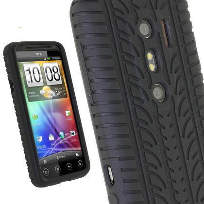 iGadgitz Black Silicone Skin Case Cover with Tyre Tread Design for HTC Evo 3D + Screen Protector Thumbnail 1