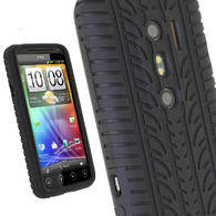 iGadgitz Black Silicone Skin Case Cover with Tyre Tread Design for HTC Evo 3D + Screen Protector