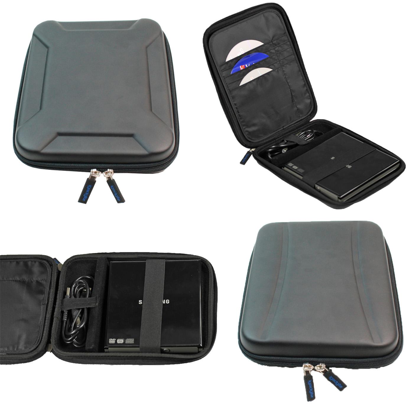 iGadgitz Black EVA Travel Hard Case Cover Sleeve for External DVD CD Blu-Ray Rewriter / Writer