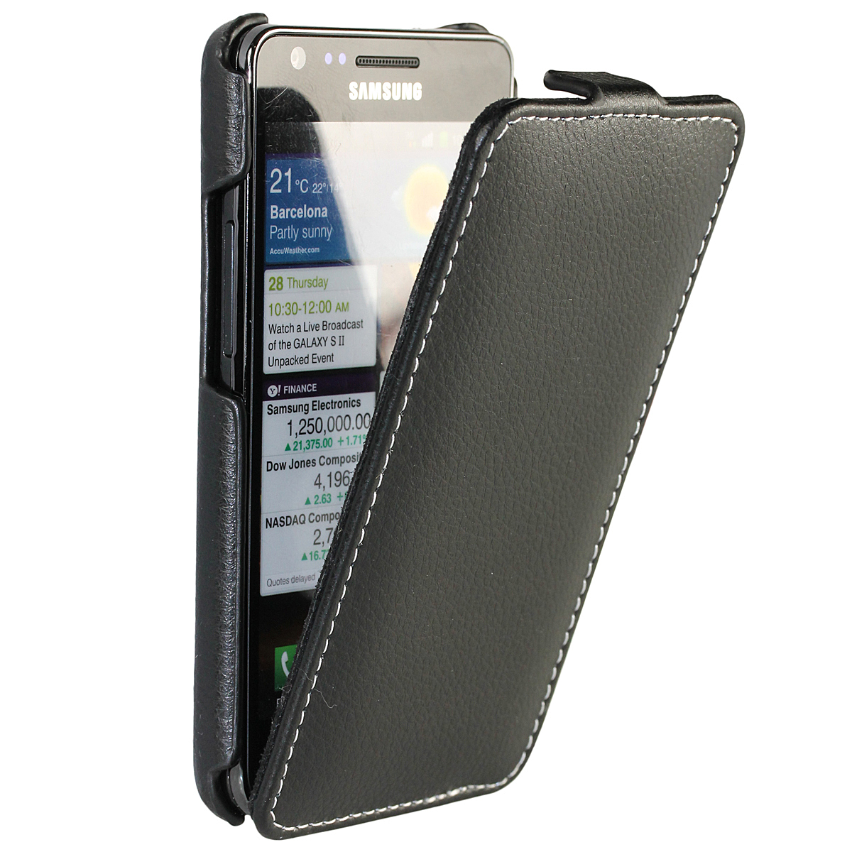 iGadgitz Black Genuine Leather Flip Case Cover Holder for Samsung i9100 Galaxy S2 Android Smartphone Mobile Phone
