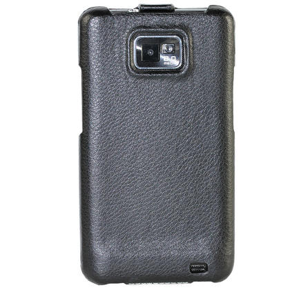 iGadgitz Black Genuine Leather Flip Case Cover Holder for Samsung i9100 Galaxy S2 Android Smartphone Mobile Phone Thumbnail 4
