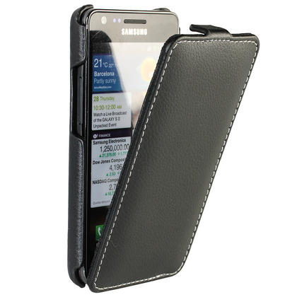 iGadgitz Black Genuine Leather Flip Case Cover Holder for Samsung i9100 Galaxy S2 Android Smartphone Mobile Phone Thumbnail 1