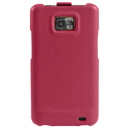 iGadgitz Pink Genuine Leather Flip Case Cover Holder for Samsung i9100 Galaxy S2 Android Smartphone Mobile Phone Thumbnail 4