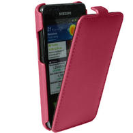 iGadgitz Pink Genuine Leather Flip Case Cover Holder for Samsung i9100 Galaxy S2 Android Smartphone Mobile Phone