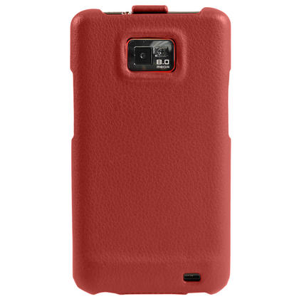 iGadgitz Red Genuine Leather Flip Case Cover Holder for Samsung i9100 Galaxy S2 Android Smartphone Mobile Phone Thumbnail 4
