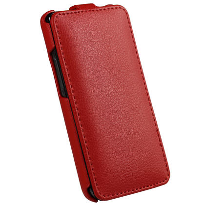 iGadgitz Red Genuine Leather Flip Case Cover Holder for Samsung i9100 Galaxy S2 Android Smartphone Mobile Phone Thumbnail 3