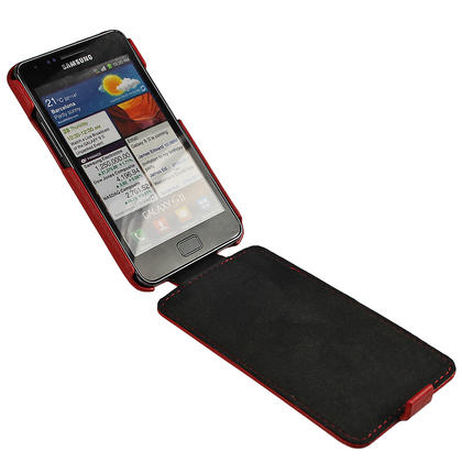 iGadgitz Red Genuine Leather Flip Case Cover Holder for Samsung i9100 Galaxy S2 Android Smartphone Mobile Phone Thumbnail 2