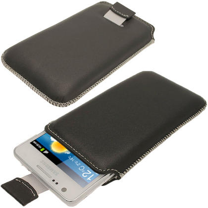 iGadgitz Black Luxury Genuine Napa Leather Pouch Case Cover for Samsung Galaxy S2 i9100 Android Smartphone Mobile Phone Thumbnail 1
