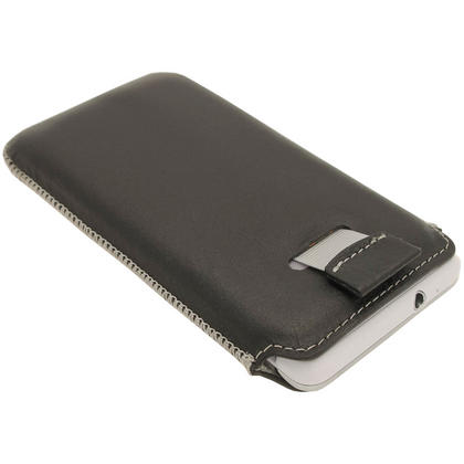 iGadgitz Black Luxury Genuine Napa Leather Pouch Case Cover for Samsung Galaxy S2 i9100 Android Smartphone Mobile Phone Thumbnail 3