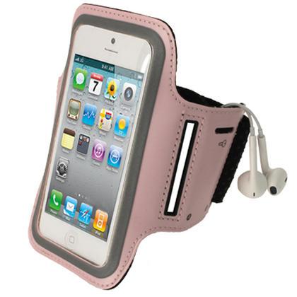 iGadgitz Pink Reflective Anti-Slip Neoprene Sports Gym Jogging Armband for Apple iPhone SE, 5S, 5, 5C Thumbnail 1