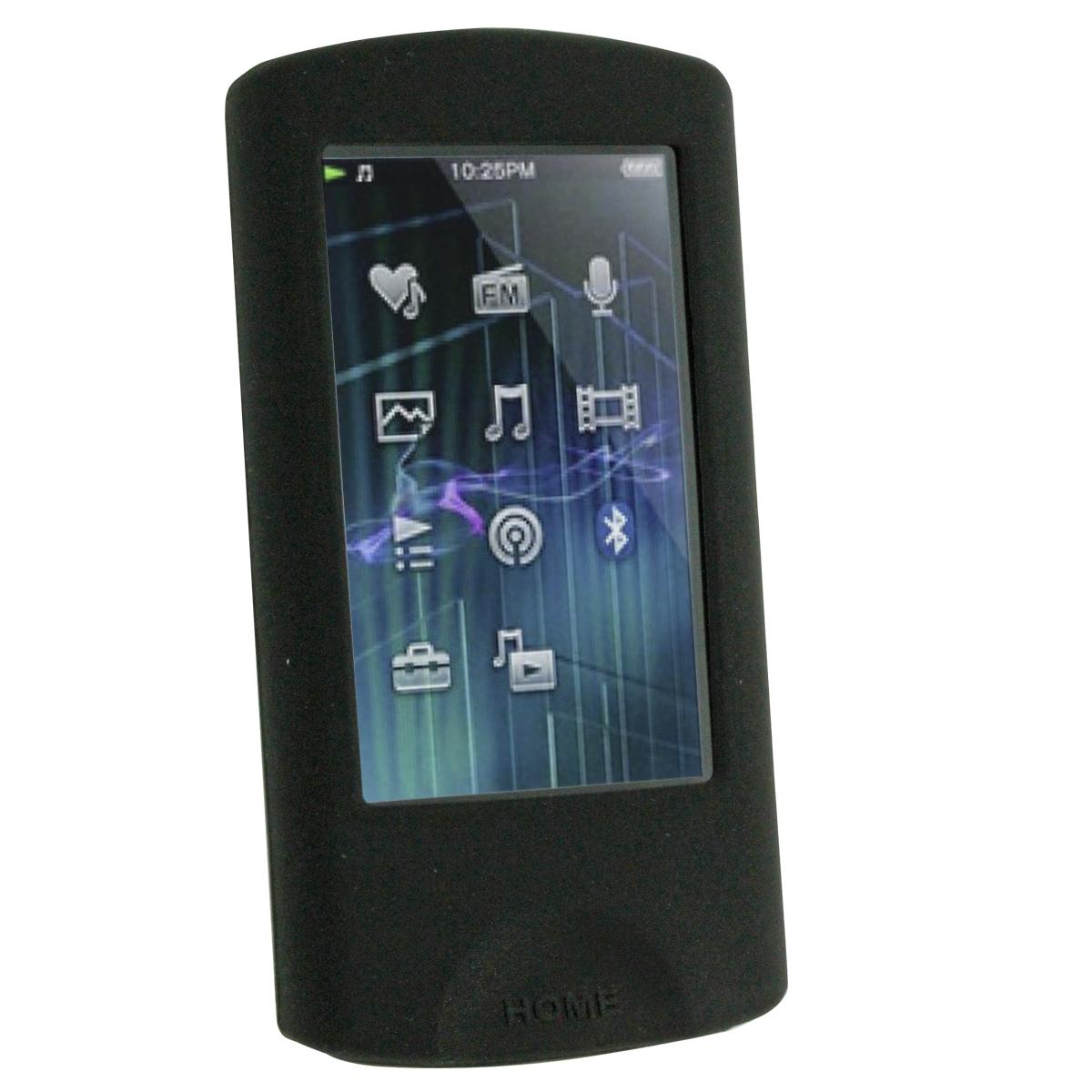 iGadgitz Black Silicone Case & Sports Armband for Sony Walkman NWZ-A864 NWZ-A865 NWZ-A866 NWZ-A867 + Screen Protector