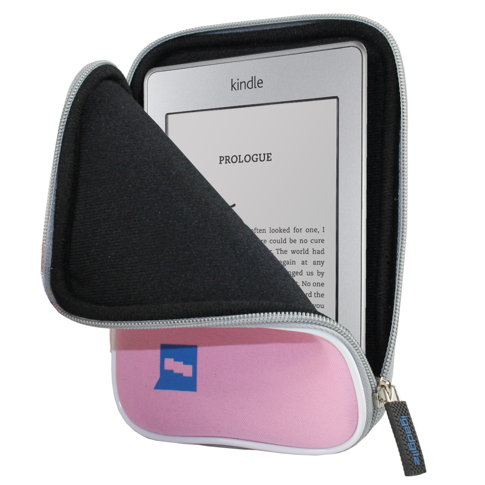 """iGadgitz Pink Neoprene Sleeve Case Cover for New Amazon Kindle Touch Wi-Fi 6"""" E Ink Display Ereader 3G"""