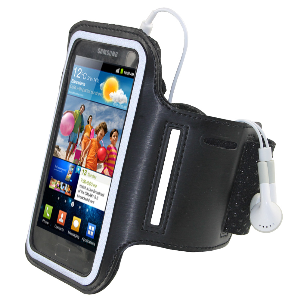 iGadgitz Black Reflective Anti-Slip Neoprene Sports Armband for Samsung Galaxy S2 i9100