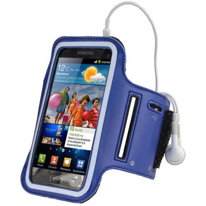 iGadgitz Blue Reflective Anti-Slip Neoprene Sports Armband for Samsung Galaxy S2 i9100 Thumbnail 1