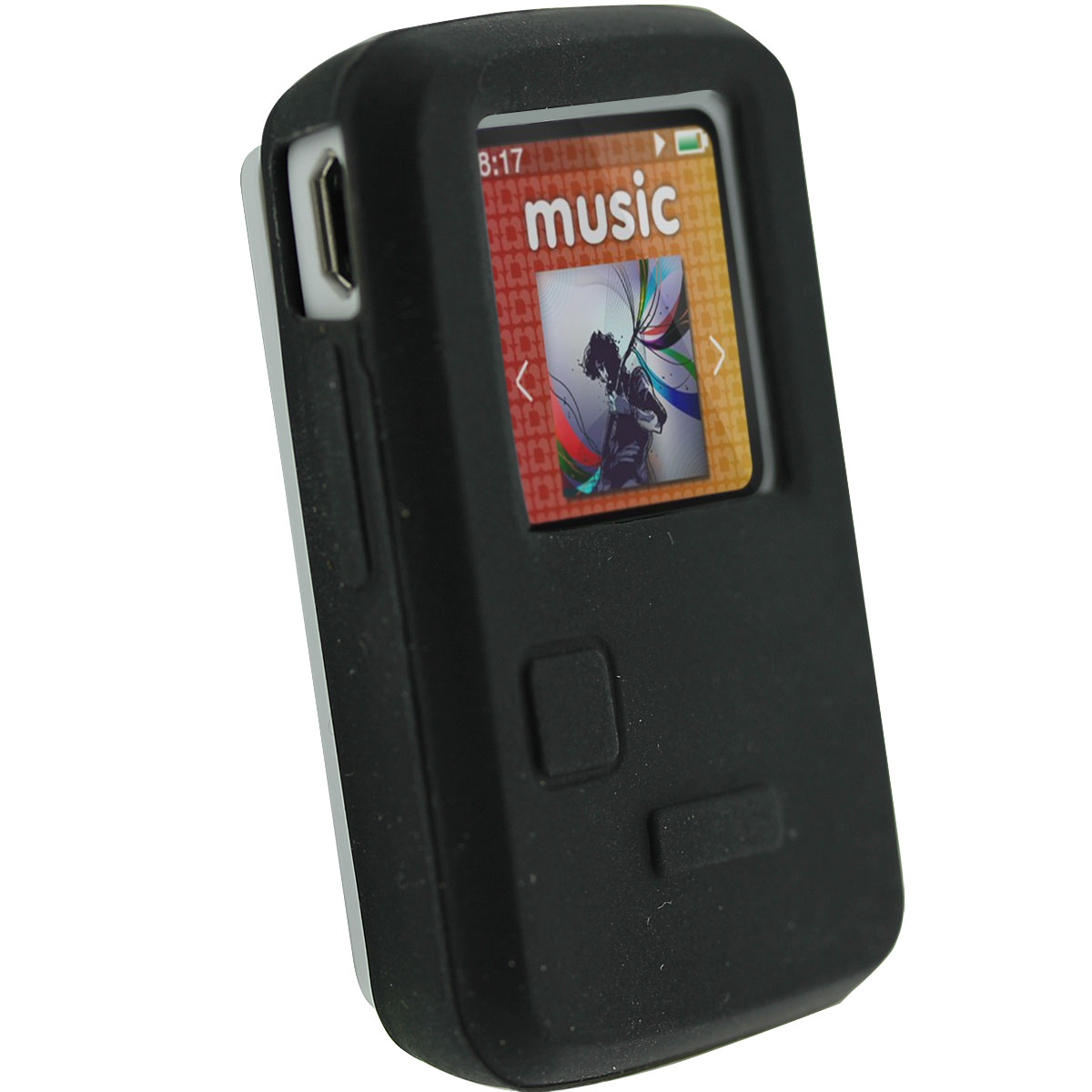 iGadgitz Black Silicone Skin Case Cover for SanDisk Sansa Clip Zip 4GB 8GB MP3 Player (Released Aug 2011)