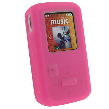 iGadgitz Pink Silicone Skin Case Cover for SanDisk Sansa Clip Zip 4GB 8GB MP3 Player (Released Aug 2011) Thumbnail 1