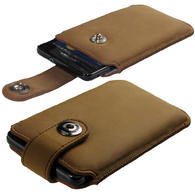 iGadgitz Brown Luxury Genuine Leather Pouch Case Cover with Magnetic Closure for Samsung Galaxy S2 i9100 & Sony Xperia L