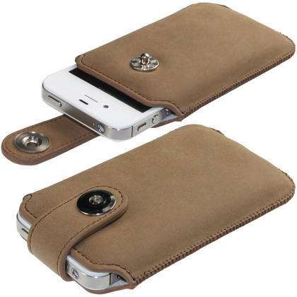 iGadgitz Brown Luxury Genuine Leather Pouch Case Cover with Magnetic Closure for iPhone 4 HD & 4S 16GB 32GB 64GB Thumbnail 1