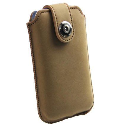 iGadgitz Brown Luxury Genuine Leather Pouch Case Cover with Magnetic Closure for iPhone 4 HD & 4S 16GB 32GB 64GB Thumbnail 5