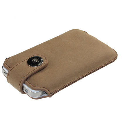 iGadgitz Brown Luxury Genuine Leather Pouch Case Cover with Magnetic Closure for iPhone 4 HD & 4S 16GB 32GB 64GB Thumbnail 2