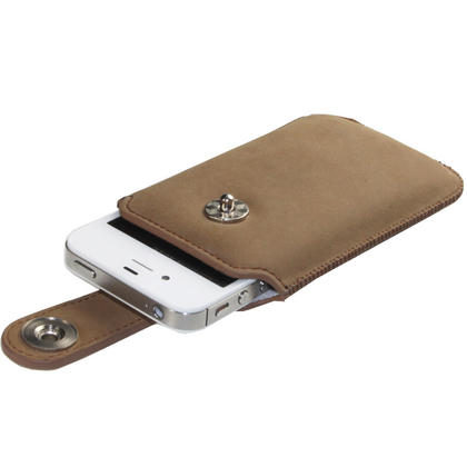 iGadgitz Brown Luxury Genuine Leather Pouch Case Cover with Magnetic Closure for iPhone 4 HD & 4S 16GB 32GB 64GB Thumbnail 3