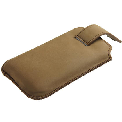 iGadgitz Brown Luxury Genuine Leather Pouch Case Cover with Magnetic Closure for iPhone 4 HD & 4S 16GB 32GB 64GB Thumbnail 4