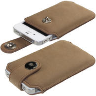 iGadgitz Brown Luxury Genuine Leather Pouch Case Cover with Magnetic Closure for iPhone 4 HD & 4S 16GB 32GB 64GB
