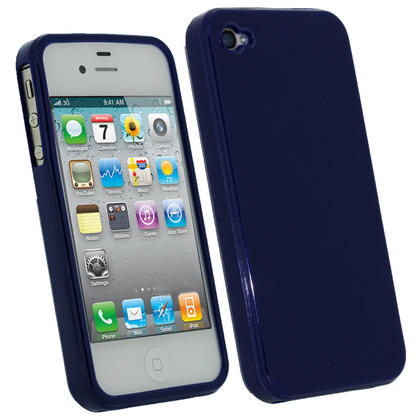 iGadgitz Blue Glossy Durable Crystal Gel Skin TPU Case Cover for Apple iPhone 4S 16GB 32GB 64GB + Screen Protector Thumbnail 1