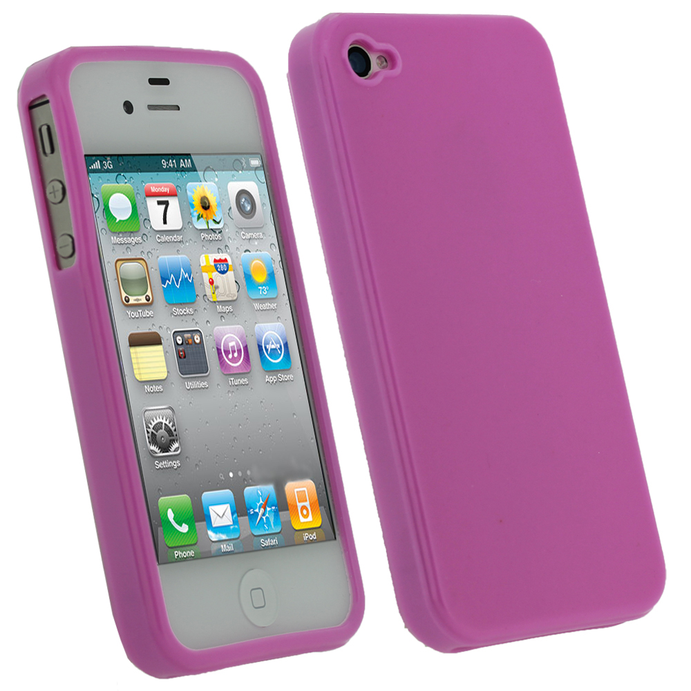 iGadgitz Pink Glossy Durable Crystal Gel Skin TPU Case Cover for Apple iPhone 4S 16GB 32GB 64GB + Screen Protector