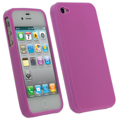 iGadgitz Pink Glossy Durable Crystal Gel Skin TPU Case Cover for Apple iPhone 4S 16GB 32GB 64GB + Screen Protector Thumbnail 1