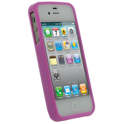 iGadgitz Pink Glossy Durable Crystal Gel Skin TPU Case Cover for Apple iPhone 4S 16GB 32GB 64GB + Screen Protector Thumbnail 2
