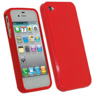 iGadgitz Red Glossy Durable Crystal Gel Skin TPU Case Cover for Apple iPhone 4S 16GB 32GB 64GB + Screen Protector