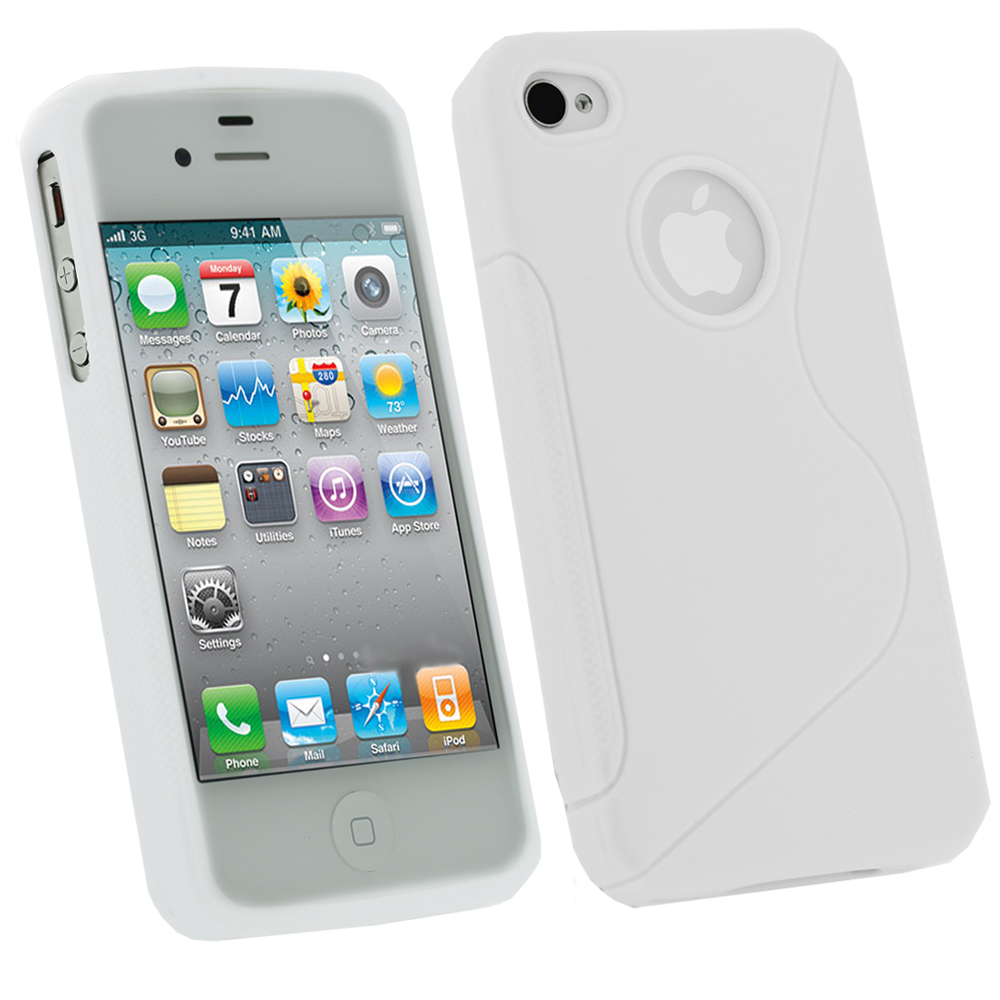 iGadgitz Dual Tone White Durable Crystal Gel Skin Case Cover for Apple iPhone 4 & 4S 16GB 32GB 64GB + Screen Protector