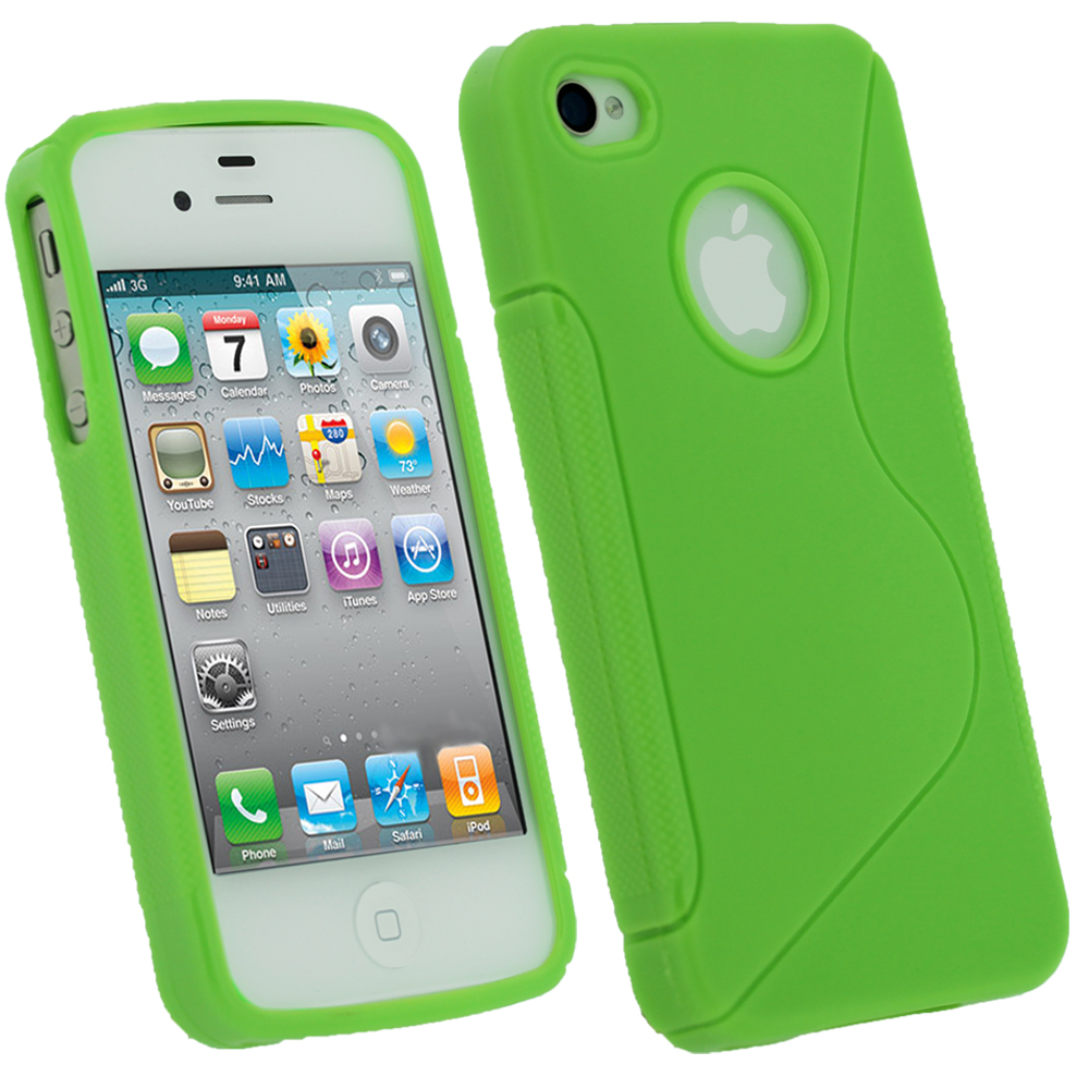 iGadgitz Dual Tone Green Durable Crystal Gel Skin Case Cover for Apple iPhone 4 & 4S 16GB 32GB 64GB + Screen Protector