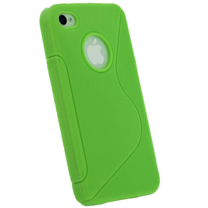 iGadgitz Dual Tone Green Durable Crystal Gel Skin Case Cover for Apple iPhone 4 & 4S 16GB 32GB 64GB + Screen Protector Thumbnail 3