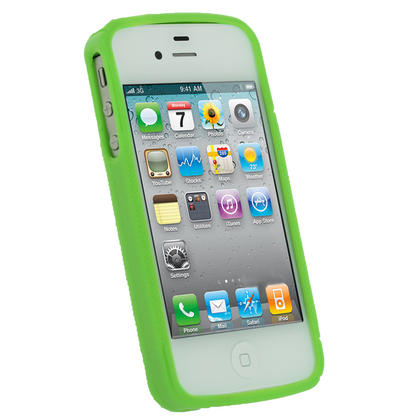iGadgitz Dual Tone Green Durable Crystal Gel Skin Case Cover for Apple iPhone 4 & 4S 16GB 32GB 64GB + Screen Protector Thumbnail 2
