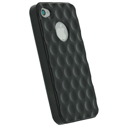 iGadgitz Bubble Black 'Golf Ball' Gel Case for Apple iPhone 4S 16GB 32GB 64GB + Screen Protector Thumbnail 3