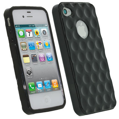 iGadgitz Bubble Black 'Golf Ball' Gel Case for Apple iPhone 4S 16GB 32GB 64GB + Screen Protector Thumbnail 1
