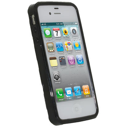 iGadgitz Bubble Black 'Golf Ball' Gel Case for Apple iPhone 4S 16GB 32GB 64GB + Screen Protector Thumbnail 2