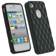 iGadgitz Bubble Black 'Golf Ball' Gel Case for Apple iPhone 4S 16GB 32GB 64GB + Screen Protector