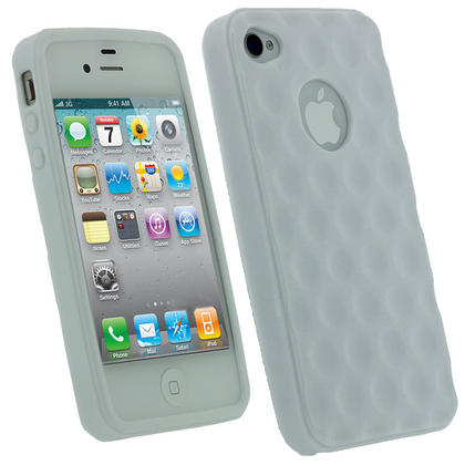 iGadgitz Bubble White 'Golf Ball' Gel Case for Apple iPhone 4S 16GB 32GB 64GB + Screen Protector Thumbnail 1