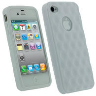 iGadgitz Bubble White 'Golf Ball' Gel Case for Apple iPhone 4S 16GB 32GB 64GB + Screen Protector
