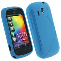 iGadgitz Dual Tone Blue Gel Case for HTC Explorer A310e + Screen Protector