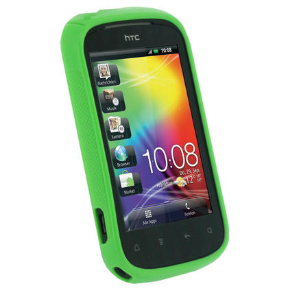 iGadgitz Dual Tone Green Gel Case for HTC Explorer A310e + Screen Protector Thumbnail 2