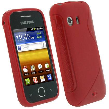 iGadgitz Dual Tone Red Gel Case for Samsung Galaxy Y S5360 + Screen Protector Thumbnail 1