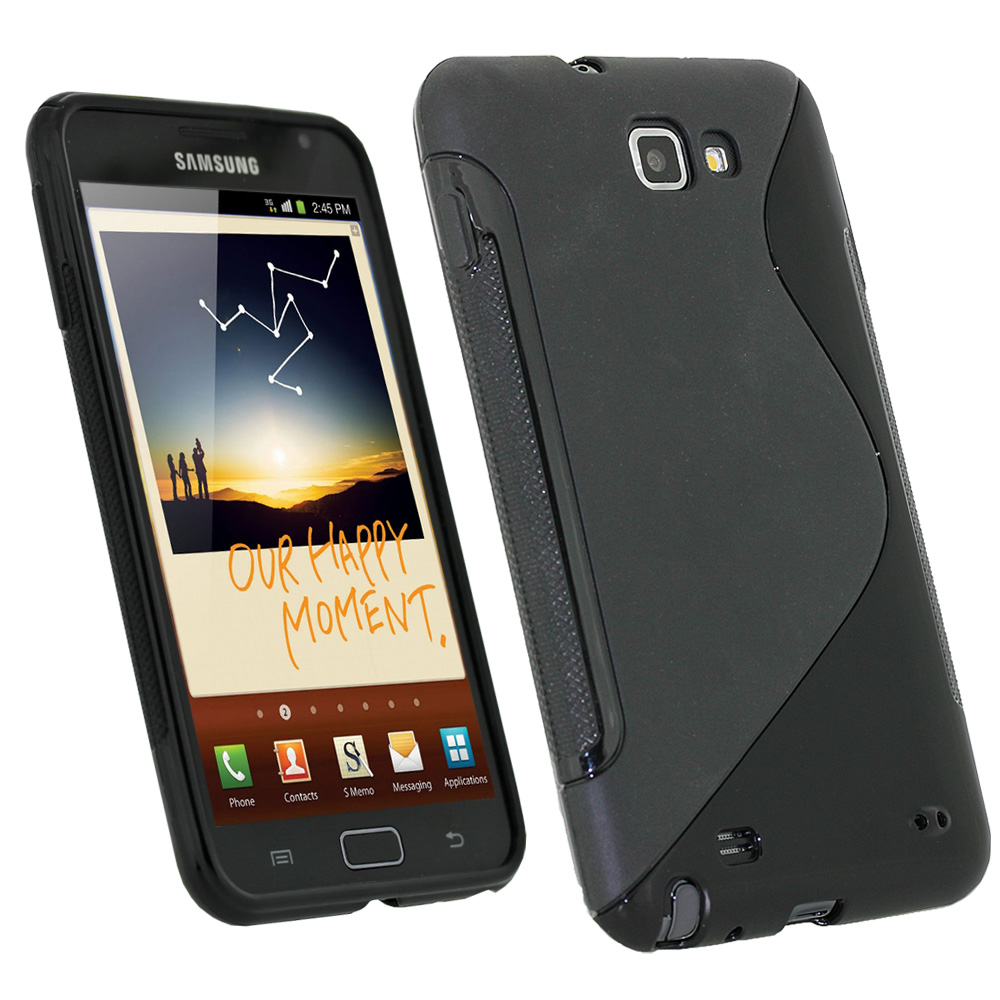 iGadgitz Dual Tone Black Gel Case for Samsung Galaxy Note N7000 + Screen Protector