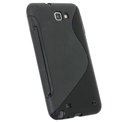 iGadgitz Dual Tone Black Gel Case for Samsung Galaxy Note N7000 + Screen Protector Thumbnail 3