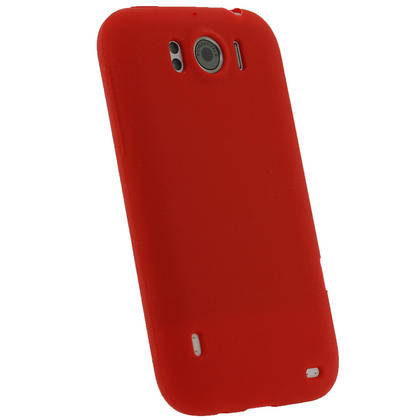iGadgitz Red Silicone Skin Case Cover for HTC Sensation XL Android Smartphone Mobile Phone + Screen Protector Thumbnail 3