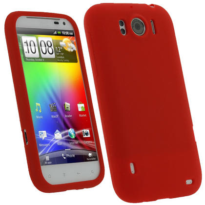 iGadgitz Red Silicone Skin Case Cover for HTC Sensation XL Android Smartphone Mobile Phone + Screen Protector Thumbnail 1