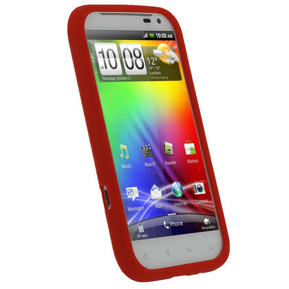 iGadgitz Red Silicone Skin Case Cover for HTC Sensation XL Android Smartphone Mobile Phone + Screen Protector Thumbnail 2